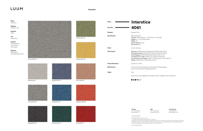 Interstice - Caesura - 4061 - 12 Sample Card