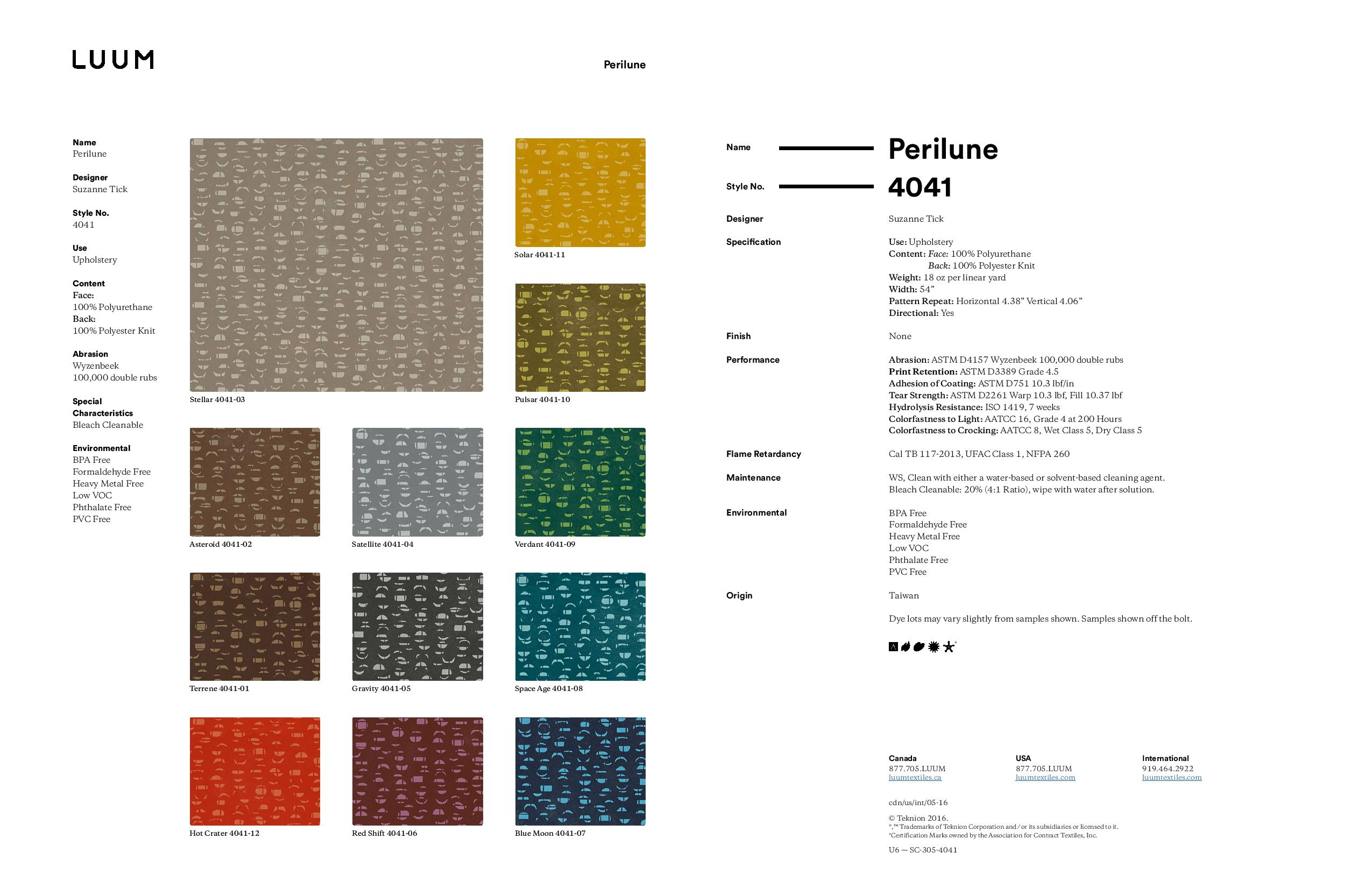 Perilune - 4041 Sample Card
