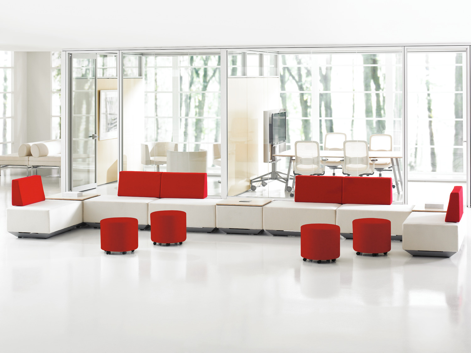 Teknion dna Lounge Seating in Red and White