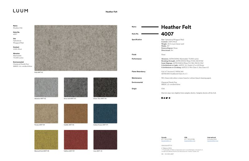 Heather Felt - 4007 Sample Card
