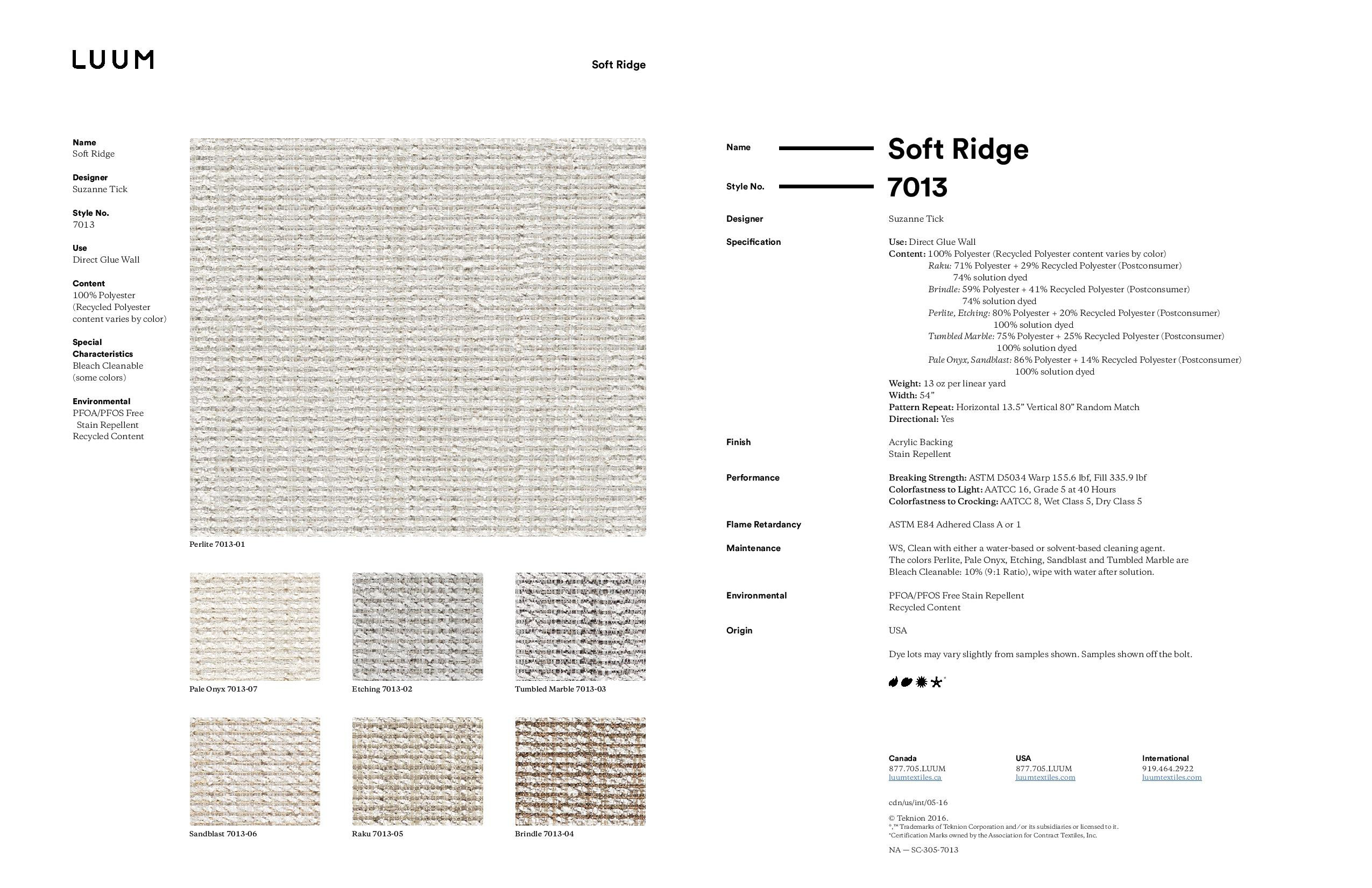 Soft Ridge - 7013 Sample Card