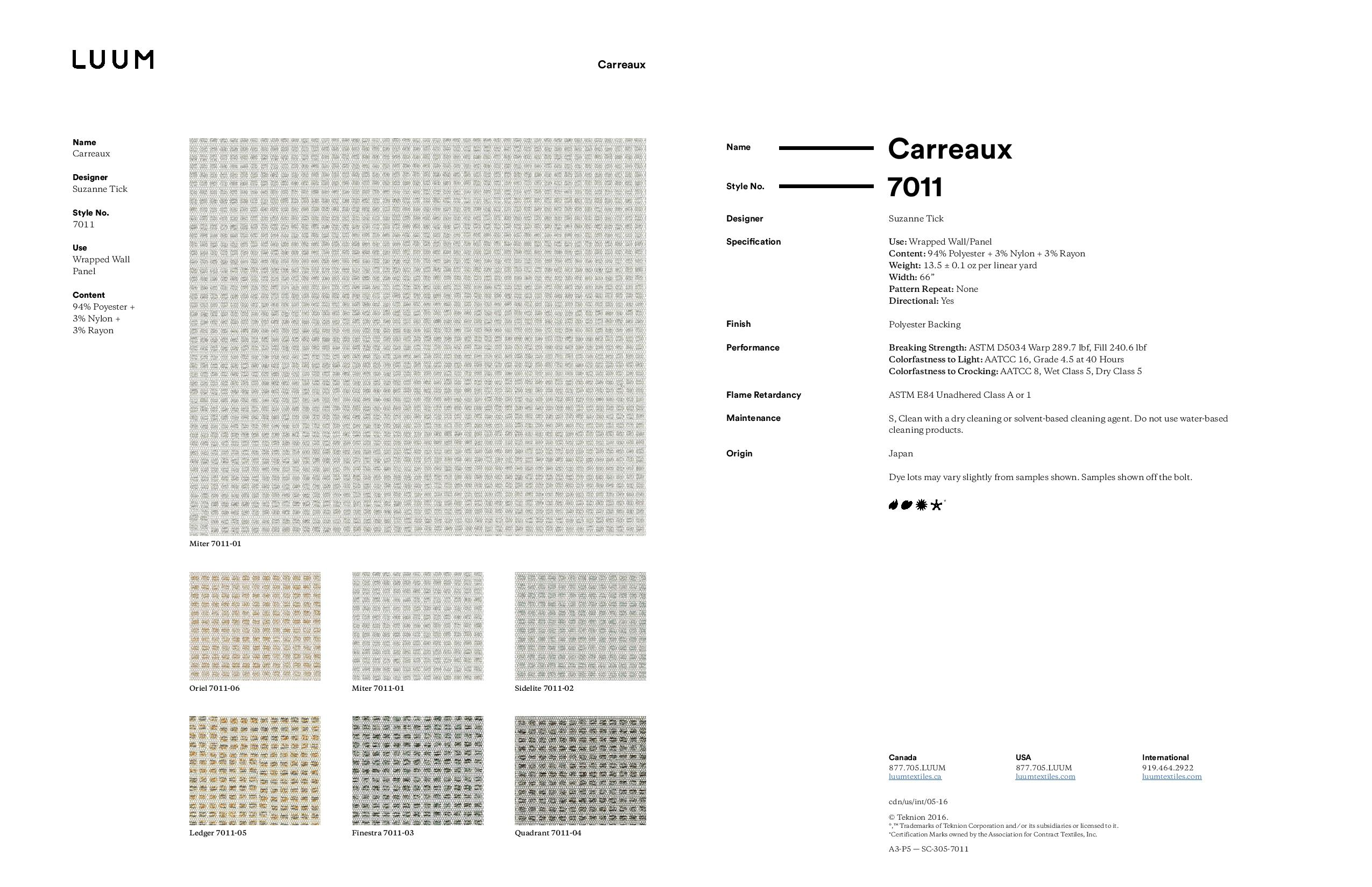 Carreaux - Ledger - 7011 - 05 - Half Yard Sample Card