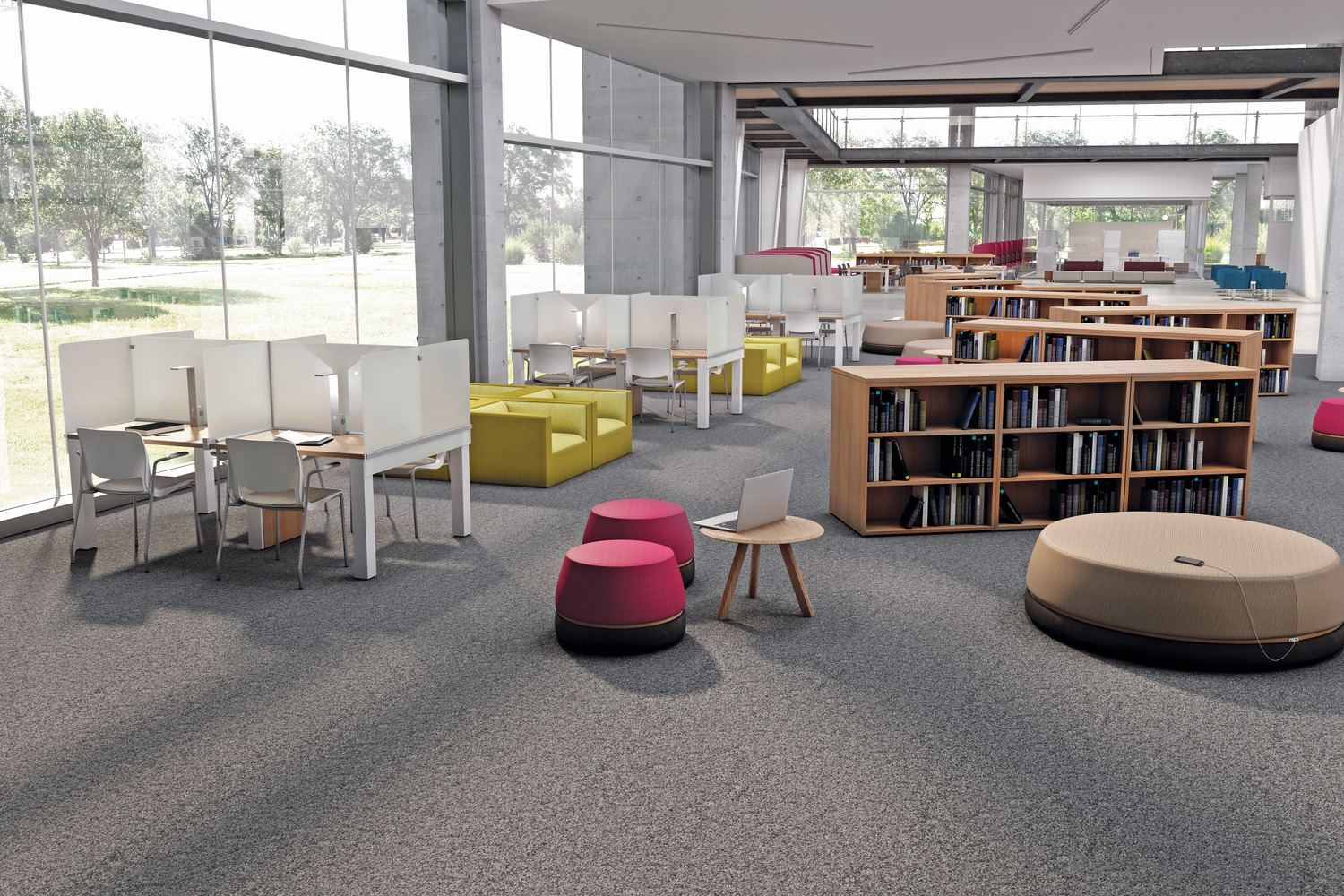 furniture for libraries. Thesis Library Tables Divided By Translucent Glass Screens Minimize Distraction While Admitting Daylight. Crisp Lines Of The Tabletop And Table Legs Furniture For Libraries