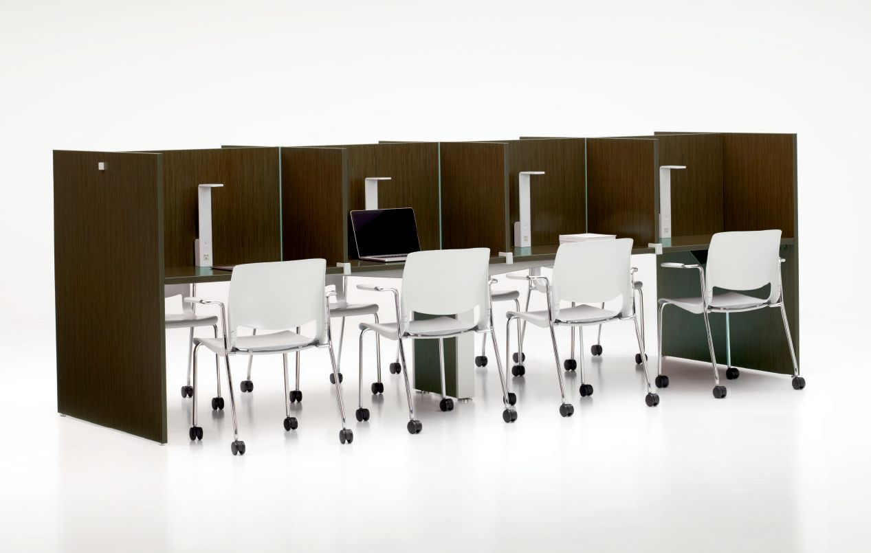 Thesis Library Tables with Solid Carrels - Seating