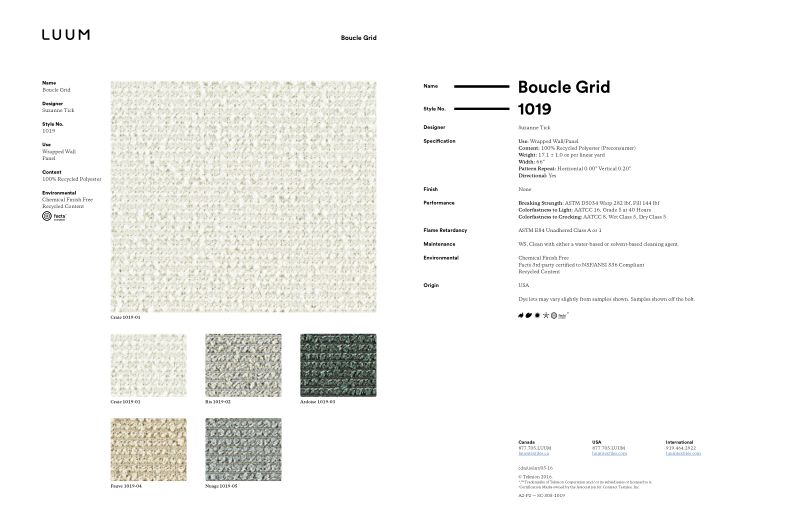 Boucle Grid - Craie - 1019 - 01 Sample Card