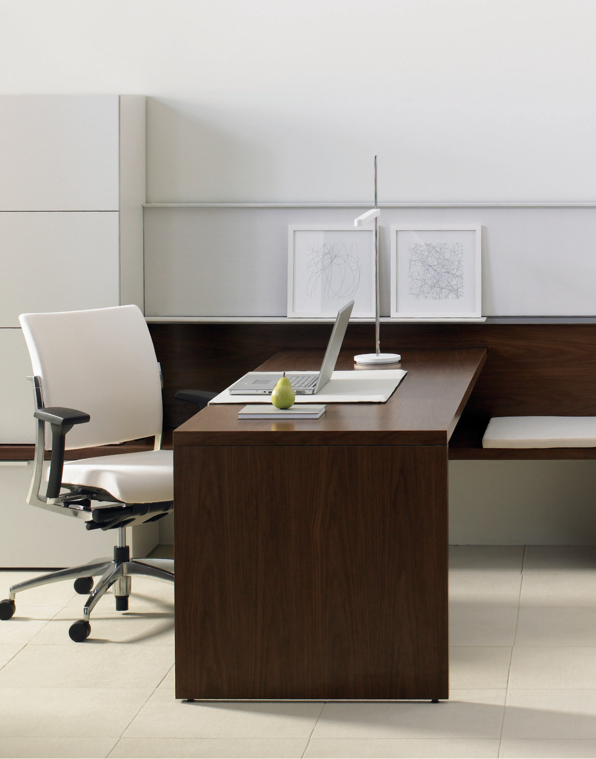 Expansion White & Brown Modern Executive Office Furniture