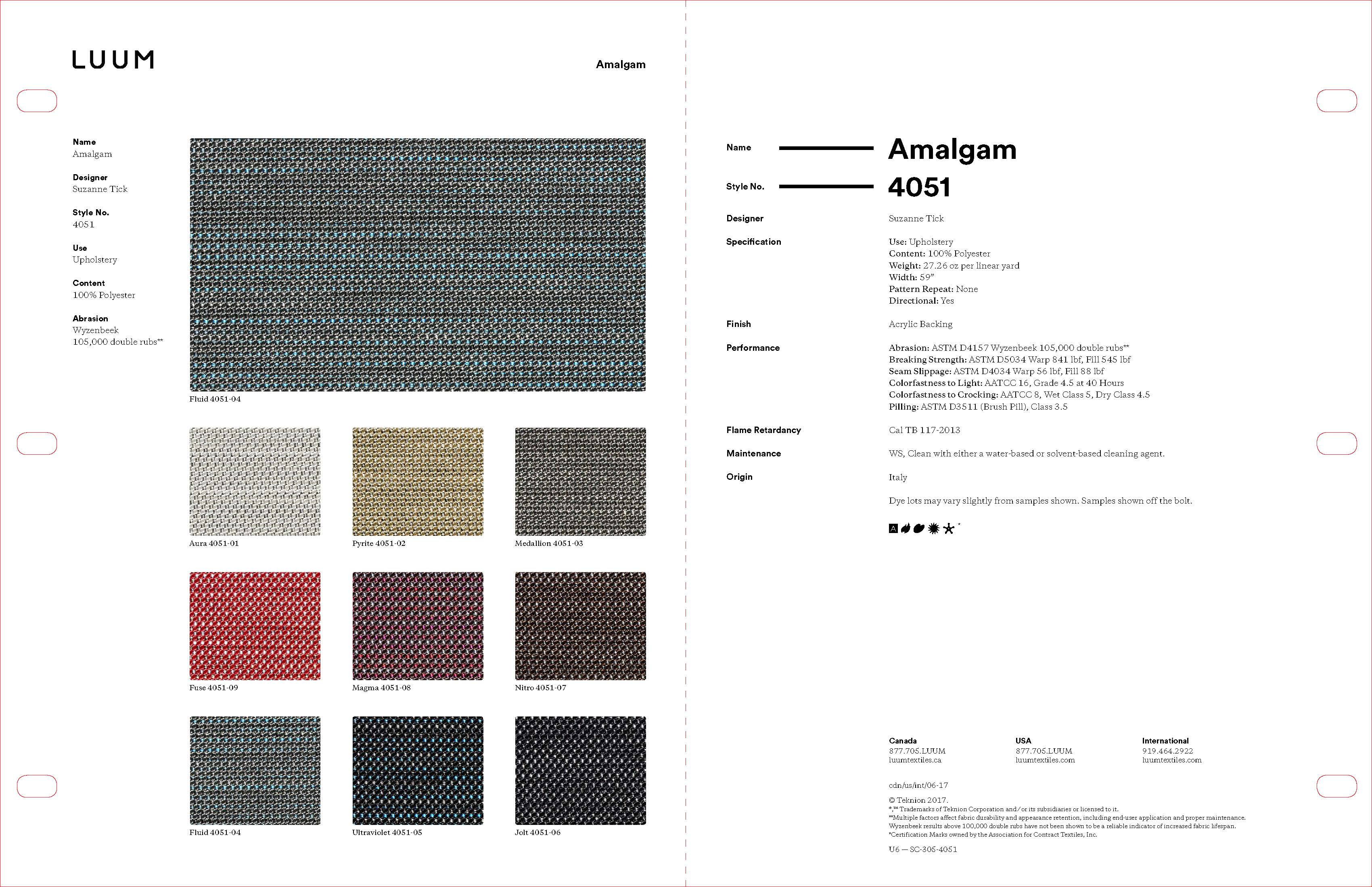Amalgam - Fuse - 4051 - 09 Sample Card