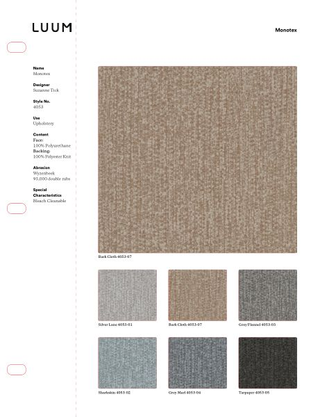 Monotex - Bark Cloth - 4053 - 07 - Half Yard Sample Card